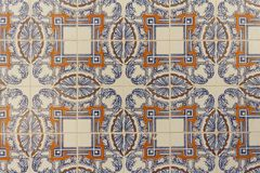 Detail of decorated portuguese tiles. In Lisbon historical city center, the Alfama, there can be several samples of a form of art inherited from the moors and Stock Image