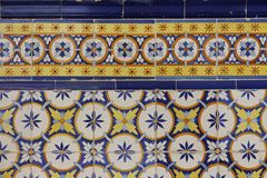 Detail of decorated portuguese tiles. In Lisbon historical city center, the Alfama, there can be several samples of a form of art inherited from the moors and Royalty Free Stock Images