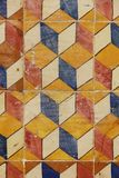 Detail of decorated portuguese tiles. In Lisbon historical city center, the Alfama, there can be several samples of a form of art inherited from the moors and Royalty Free Stock Photo