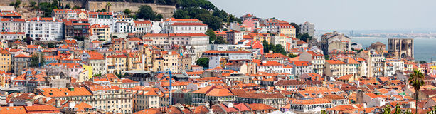 Lisbon Historical City Panorama Stock Photo