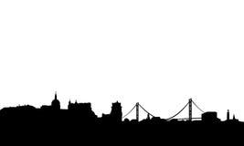 lisbon horisontvektor royaltyfri illustrationer