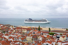 Lisbon houses and harbor in Portugal Royalty Free Stock Photo