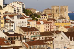 Lisbon houses on mountain slope Royalty Free Stock Image