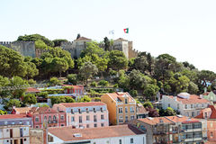 Lisbon houses with the St. Jorge castle Lisbon Portugal Stock Photography