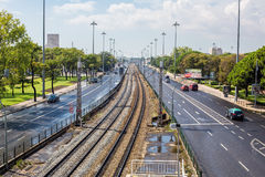 Lisbon Industrial Port District. Lisbon Industrial District: Railway, Road and Port. Horizontal sgot. Photo taken on: September 23th, 2014 royalty free stock image