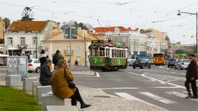 Lisbon, January 2018: an old tram with Santa Claus rides down Lisbon Street near the Jeronimos Monastery.  stock video