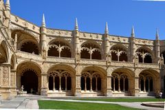 Lisbon Jeronimos monastery. The Hieronymites Monastery (Mosteiro dos Jerónimos), is in Lisbon, Portugal. The monastery is one of the most important  portouguese Royalty Free Stock Images