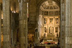 Lisbon - Jeronimos Monastery Belem,church interior Royalty Free Stock Images