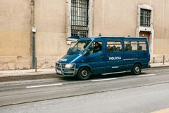 Lisbon, June 18, 2018: A police car is driving down the city street. Protection of public order.  stock photo