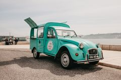 Lisbon, June 18, 2018: Sale of street food or sweets in a vintage or retro car. Street trading or a small business. Lisbon, June 18, 2018: Sale of street food or Royalty Free Stock Photo