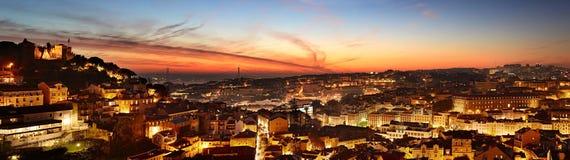Lisbon kolorowa linia horyzontu, Portugalia obraz royalty free