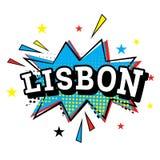 lisbon Komisk text i popet Art Style royaltyfri illustrationer