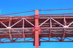 Lisbon, Landmark suspension 25 of April bridge royalty free stock photo