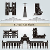Lisbon landmarks and monuments. Isolated on blue background in editable vector file Royalty Free Stock Image
