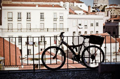 Lisbon landscape and bike stock photos