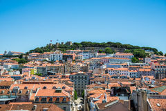 Lisbon lanscape with Castelo de Sao Jorge Stock Photography