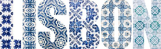 Lisbon letters filled with portuguese tiles. Lisbon letters filled with colorful portuguese tiles from Lisbon city, Portugal stock photography