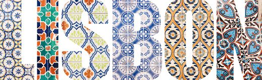 Lisbon letters filled with portuguese tiles. Lisbon letters filled with colorful portuguese tiles from Lisbon city, Portugal stock images