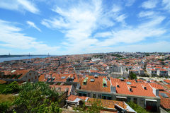 Lisbon linia horyzontu i Tejo rzeka, Lisbon, Portugalia Fotografia Stock