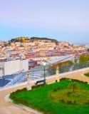 Lisbon linia horyzontu od sławnego punktu widzenia fotografia stock