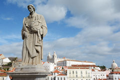 Lisbon, Lisboa, Lissabon 24. Statue with charming view of the old center of Lisbon royalty free stock photos