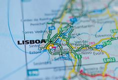 Lisbon on map. Close up shot of Lisbon on a map Stock Image
