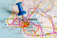 Lisbon on map. Macro shot of Lisbon on map with push pin. Lisbon is Portugal's hilly, coastal capital city stock photos
