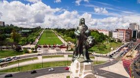 Lisbon markiz Pombal powietrzny mknący truteń Fotografia Stock