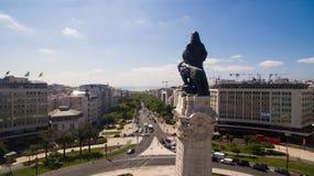 Lisbon markiz Pombal widok z lotu ptaka może 2016 Obrazy Royalty Free