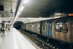 Lisbon, 01 May 2018: Typical interior of a subway station in Lisbon. A trip in the underground metro royalty free stock photo