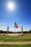 Lisbon monument sun Stock Photography