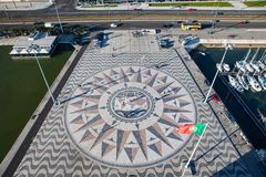 Lisbon mosaic Compass rose from the top view Royalty Free Stock Photography
