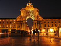 Lisbon by night. Terreiro do Paco one of the major squares in Lisbon, capital of Portugal. At the time there was a photo exhibition (the earth seen from the air Royalty Free Stock Image