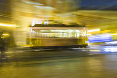 Lisbon at night, famous  historic streetcar is running Stock Photo