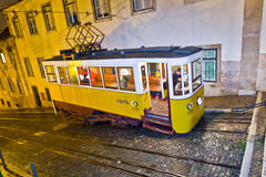 Lisbon at night, famous tram, historic streetcar Stock Photo