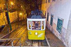 Lisbon at night, famous tram, Royalty Free Stock Images