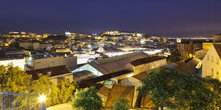 Lisbon Night Panorama Stock Photography
