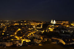 Lisbon by night royalty free stock photos
