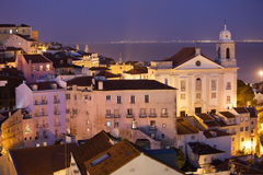 Lisbon at Night in Portugal Royalty Free Stock Image