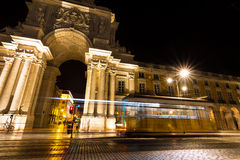 Lisbon night tram Royalty Free Stock Images