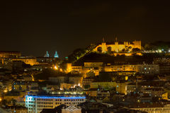 Lisbon night view of the Castel of St George Stock Photos