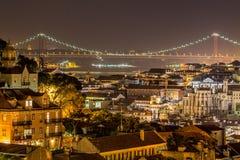 Lisbon by night. View of lisbon at night from graça Stock Photo