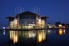 Lisbon Oceanarium at night stock photo