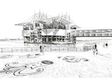 lisbon oceanarium portugal Europa Hand tecknad vektorillustration stock illustrationer