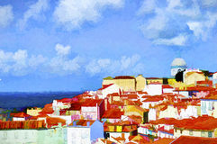 Lisbon. Oil painting Stock Photography