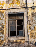 Lisbon old facade, detail of an old street Royalty Free Stock Images