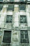 Lisbon old facade, detail of an old street Stock Photos