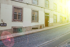 Lisbon old facade, detail of an old street Royalty Free Stock Image