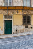 Lisbon old facade, detail of an old street Royalty Free Stock Photo