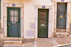 Lisbon old facade, detail of an old street portugal Stock Photography